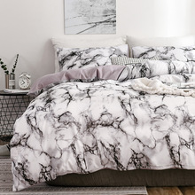 Hot Beddings Marble Pattern Pure Plain Quilt Cover Bedsheet Three 4 piece Bedding Set