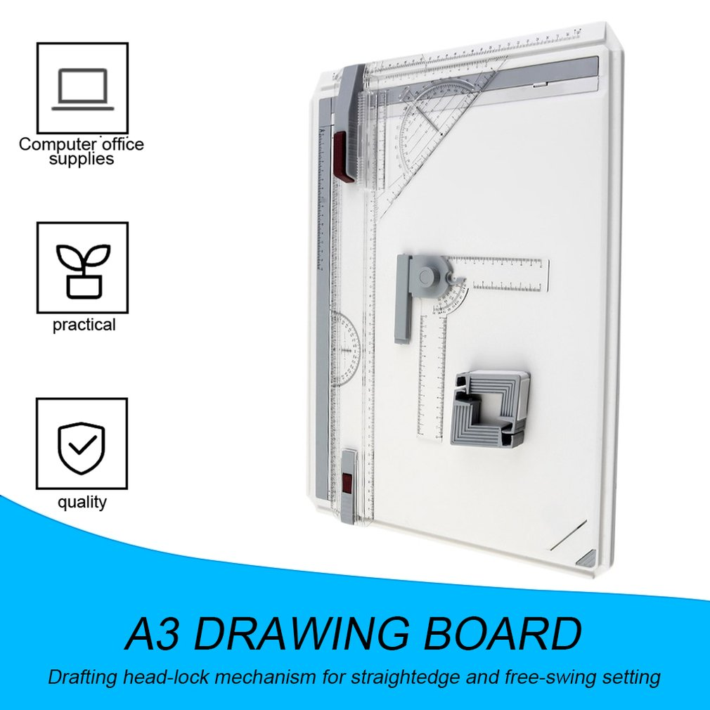 Portable A3 Drawing Board Draft Painting Board With Parallel Rulers Corner Clips Head-lock Adjustable Angle Art Draw Tools