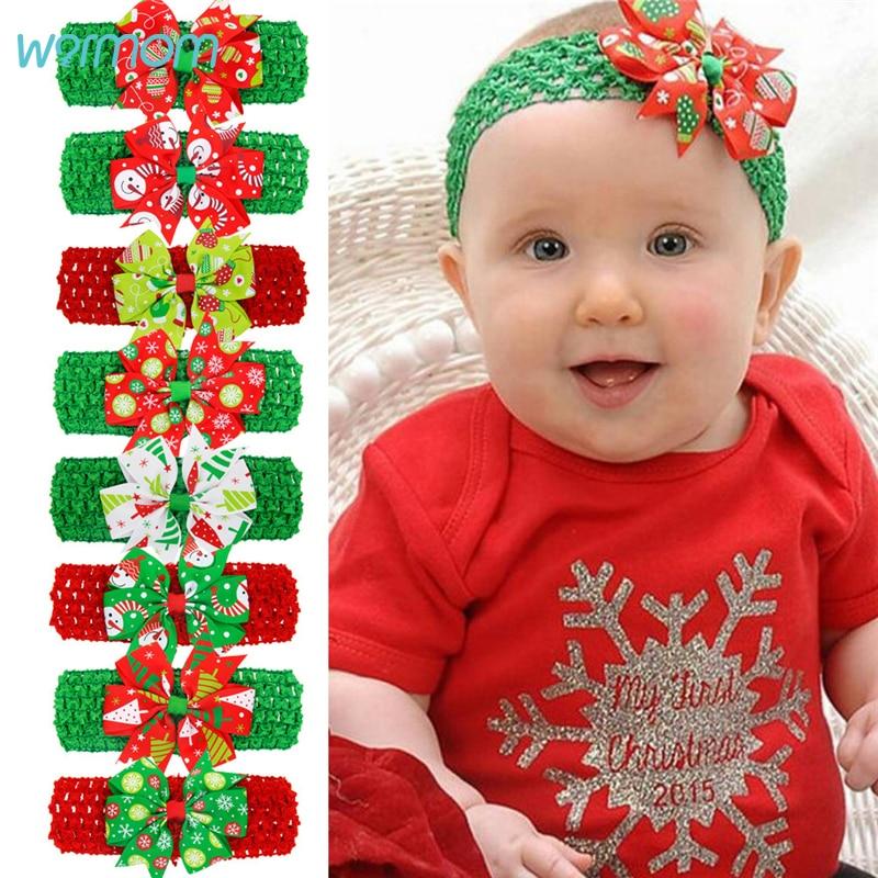 Warmom Baby Girls Christmas Headband Headwear Accessories Newborn Infant Bowknot Elastic Wide Hair Band For Kids Christmas Gift