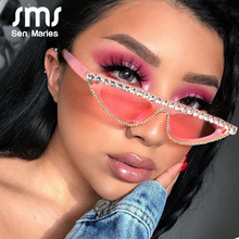 Sen Maries Small Cat Eye Diamond Sunglasses Women Fashion Rhinestone Sun Glasses Sexy Pink Black Vintage Eyeglasses Shades UV400