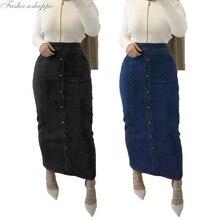 Muslim Skirt Abaya Maxi-Pencil Islamic Stretch Denim Sheath Bodycon Middle-East High-Waist