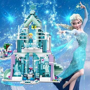 Conjunto de bloques de construcción de princesa de Cenicienta congelada de Elsa, Castillo de sirena, figura de ladrillo Compatible para niños, juguete de regalo