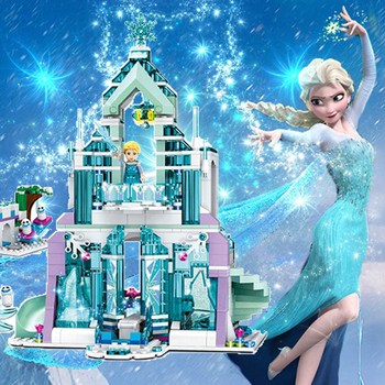 Disney Frozen Elsa Cinderella Princess Building Model Block Set Mermaid Castle Compatible Brick Figure Kids children Toy gift