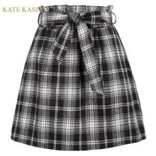 Kate Kasin Vintage Style Elastic Waist Plaid Skirt
