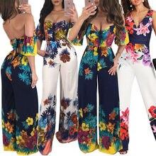Hot Sale Beach Women Off Shoulder Clubwear Floral Print Playsuit Casual Short Sleeve Party Jumpsuit