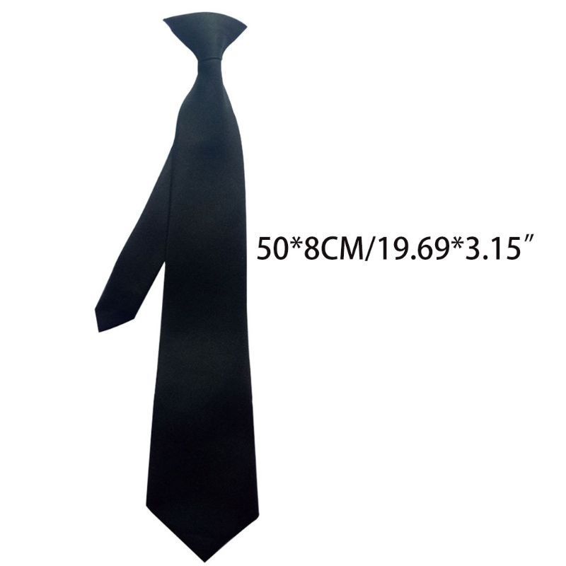 50x8cm Men's Uniform Solid Black Color Imitation Silk Clip-On Pre-Tied Neck Ties For Police Security Wedding Funeral