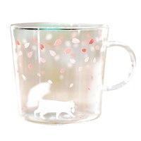 9,47 унций творческий японский стиль стекло с принтом чайная чашка термостойкая Сакура стеклянная кружка для чая стеклянная кофейная кружка ...