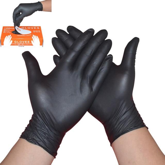 100 יח\קופסא Nitrile כפפות עמיד למים חד פעמי עבור קעקוע רופא שיניים מזון תהליך ניקוי ידיים הגנה לעבוד כפפות