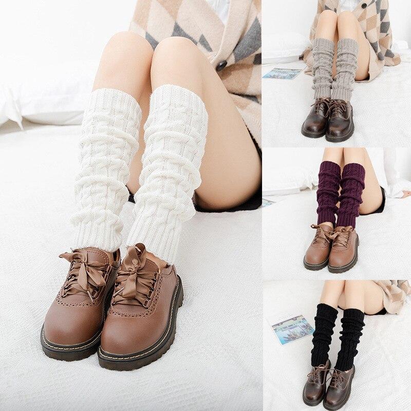 Sonbahar ve kış diz boyu çoraplar yeni orta tüp büküm yün örme kadın çorap sıcak kazık tayt tekmelikler