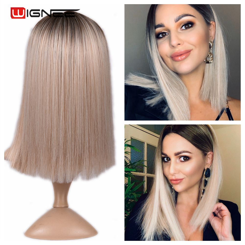 He731ccd7ffec4fa7b0f574dd27f14dbaY - Wignee 2 Tone Ombre Brown Ash Blonde Synthetic Wig for Women Middle Part Short Straight Hair High Temperature Cosplay Hair Wigs
