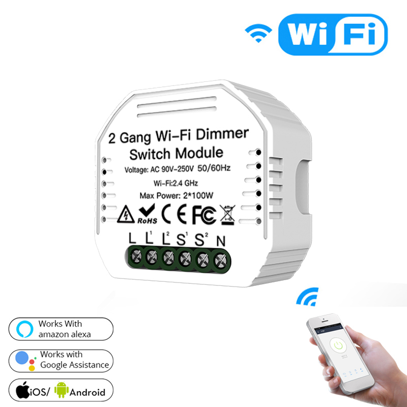 New 2 Gang DIY WiFi Smart 2 Way Light LED Dimmer Module Switch Smart Life/Tuya APP Remote Control Work With Alexa Google Home