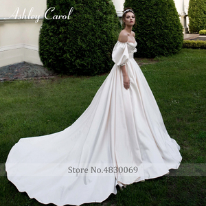 Image 5 - Ashley Carol Satin A Line Hochzeit Kleid 2020 Puff Sleeve Perlen Kristall Schatz Braut Kleider Taste Vintage Brautkleider