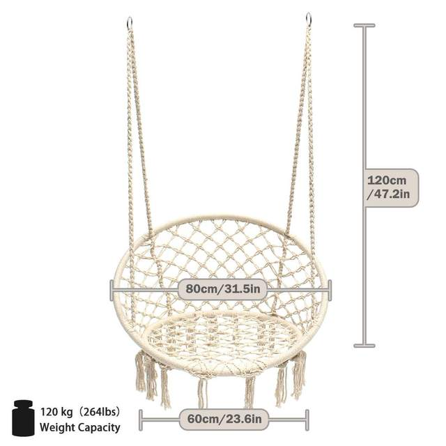 Round Hammock Chair Outdoor Indoor Dormitory Bedroom Yard For Child Adult Swinging Hanging Single Safety Chair Hammock 5