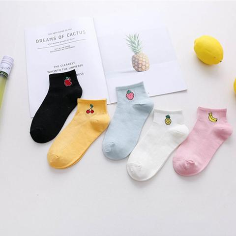 5 Pair/set Women Socks Fruit Pattern Cotton Socks Harajuku Female Cute Skatebord Socks Hipster Fashion Animal Print Short Socks Multan