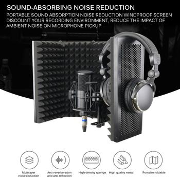 2020 składany mikrofon izolacja akustyczna pokrywa pianka akustyczna nagrywanie na żywo mikrofon izolacja akustyczna pokrywa mikrofony na żywo tanie i dobre opinie powstro Other acoustic isolation shield