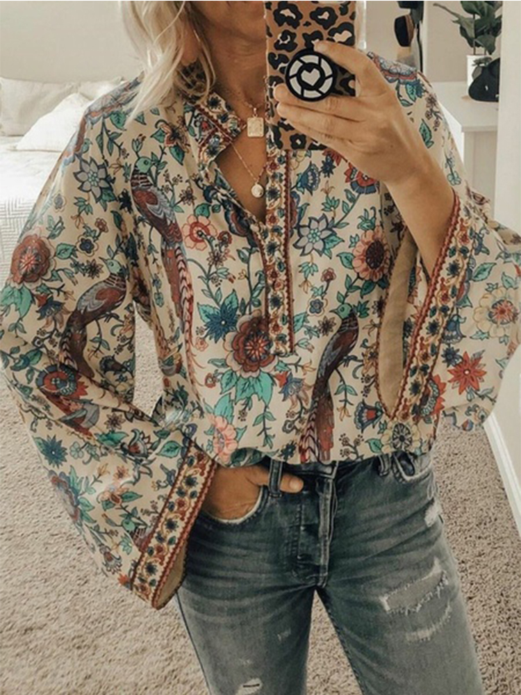 S-5XL Spring 2020 New Casual Peacock Print Loose T Shirt Women Long Sleeve Vintage Shirt Loose Hip Women Clothing Female Tops