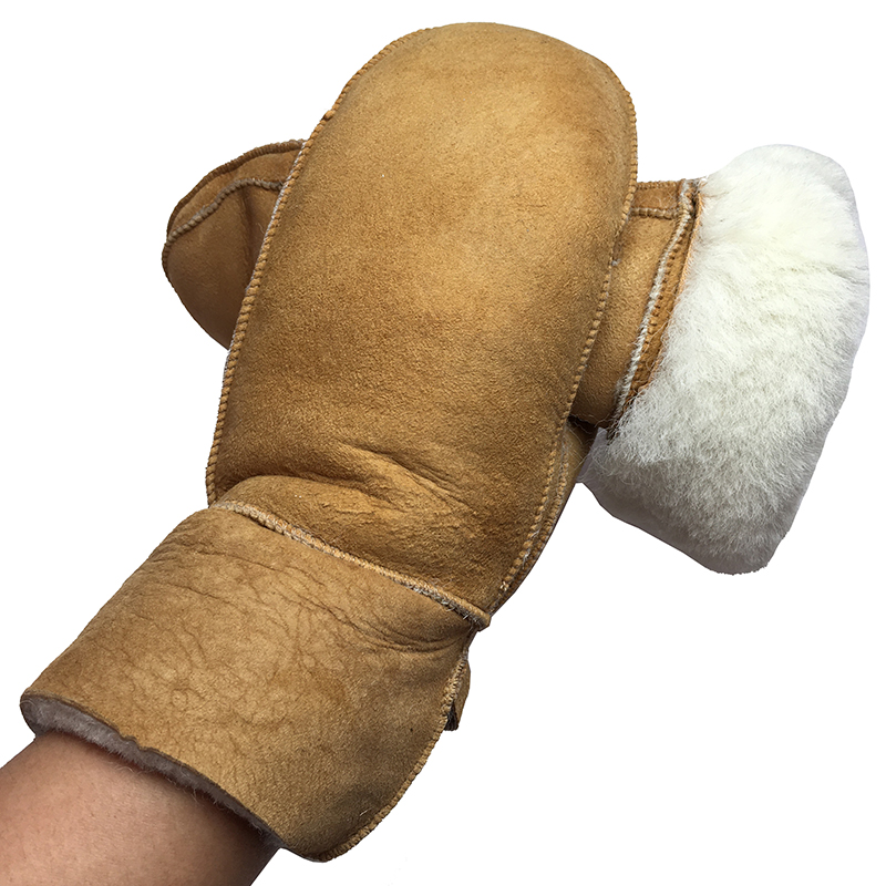 Women Gloves Winter Leather Mittens Warm Woolen Real Leather Wool Fur Gloves Lovely Girl Sheepskin Leather Gloves For Lady NM2