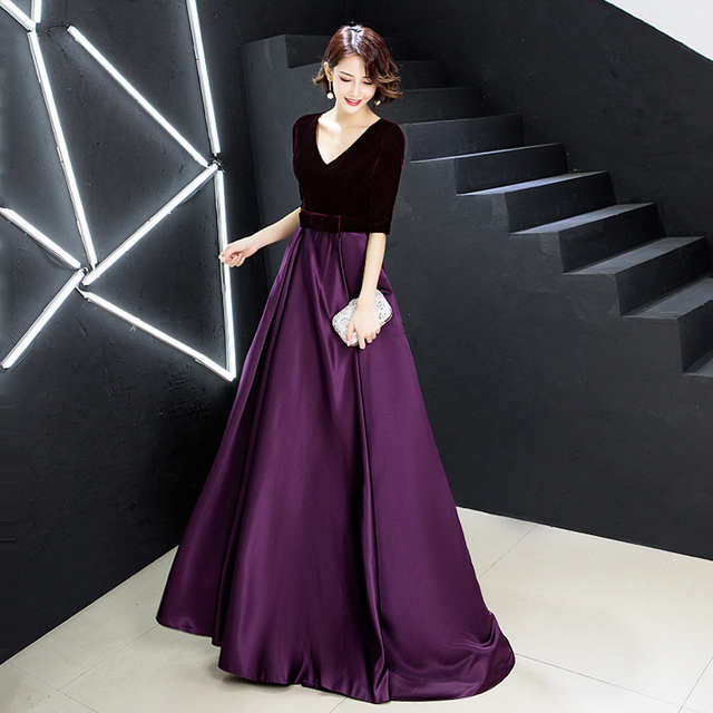 Evening Dress Velvet Top A Line Floor Length Formal Party Gowns 2020 Sexy V-Neck Half Sleeve Elegant Vestidos Women Dresses K246 2