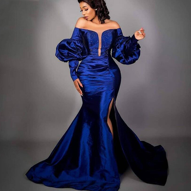 Royal Blue Evening Dresses Off Shoulder Mermaid Long Sleeves Custom Made Side Split Beaded Formal Party Gowns New Arrival 1