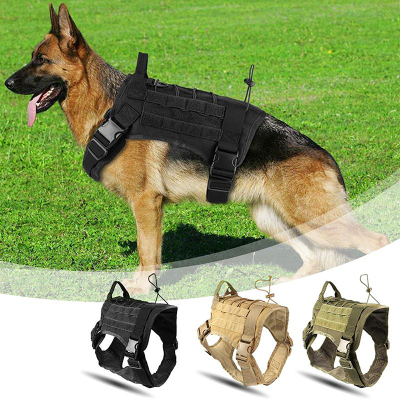 Military Tactical Dog Harness Working Dog Vest Nylon Bungee Leash
