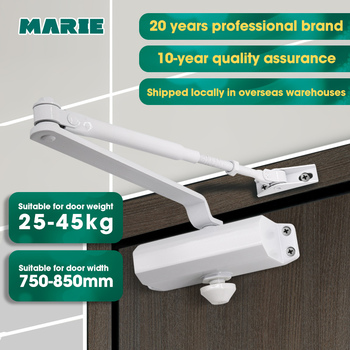 Marie1102 White Automatic Hydraulic Buffer Door Closer Speed Adjustable Mute Closing Simple Installation For 25-45kg Indoor Door