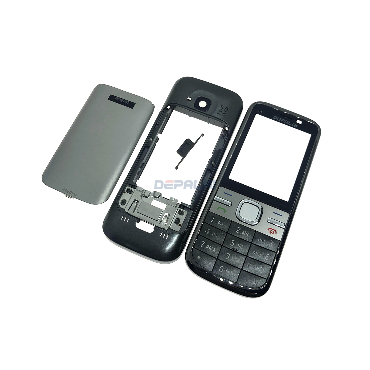 For <font><b>Nokia</b></font> <font><b>c5</b></font>-00 <font><b>C5</b></font> <font><b>Housing</b></font> Front Faceplate Frame Cover Case+Back cover/battery door cover+Keypad image