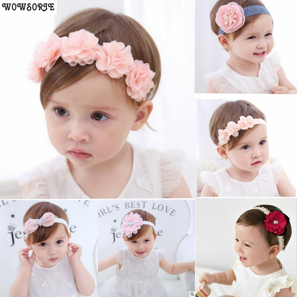 Korean Baby Headband Newborn Fabric Flowers  Girls Headbands DIY Jewelry Accessory Photographed Photos Children Hair Accessories