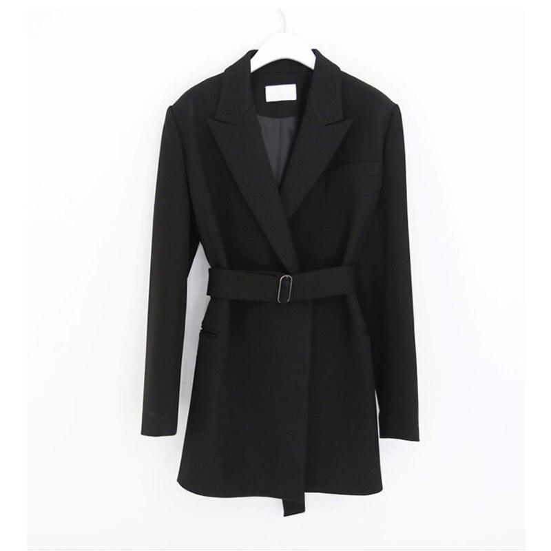 Drop Shipping Lace Up Women Jacket Turn-down Collar Khaki Women Blazer Autumn Elegant Office Ladies Female Blazer Outerwear