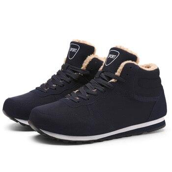 2019 New Winter Fur Flock Shoes Men Fashion Snow Boots Men Leather Ankle Boots Men Warm Casual Male Boots Plus Size HX-093