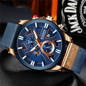Image 2 - CURREN montre bracelet pour hommes, étanche chronographe, en cuir véritable, marque de luxe, nouvelle horloge, Sport, style militaire, 8346