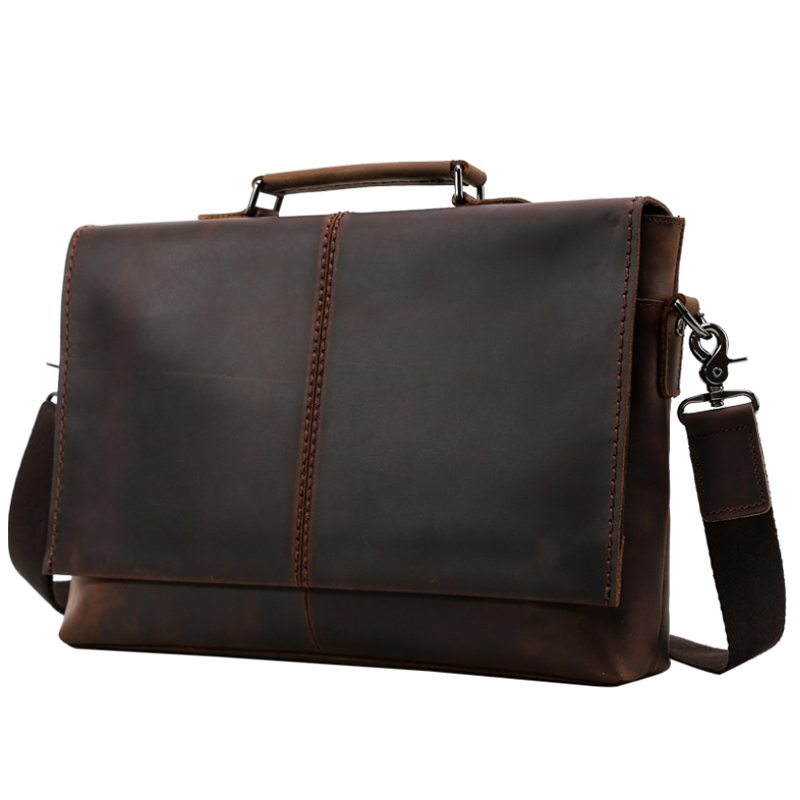 MAHEU Vintage Leather Briefcase 100% Genuine Leather Business Shoulder Bag With Cover 15.6 Inch Computer Bag Solid Cowskin