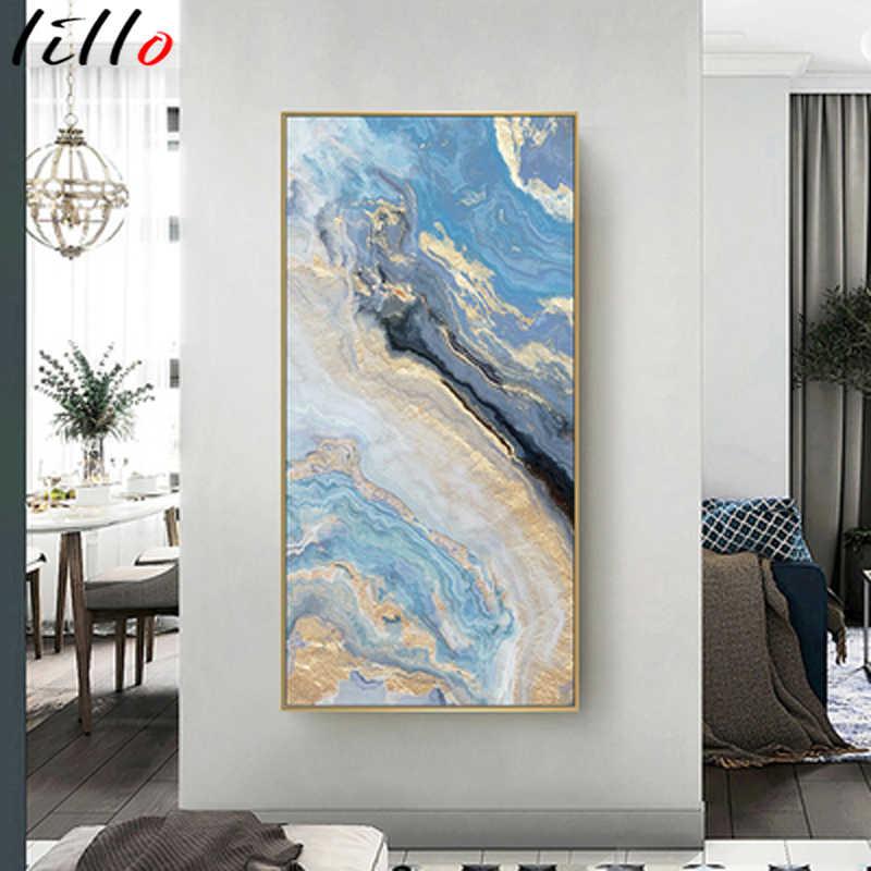 Скандинавский Зеленый Синий Золотой океан река жидкость абстрактная стена искусство печать на холсте Печать Рамки для гостиной домашний декор