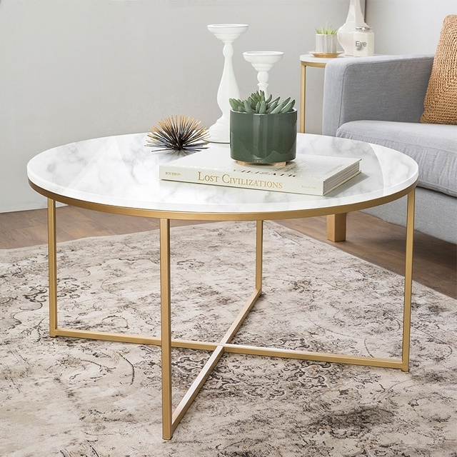 Best Offer 2adb Nordic Gold Round Coffee Table Living Room Modern Creative Marble Texture Large Table Home Furniture Cicig Co