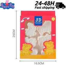6pcs/set Peppa Pig Birthday Baking Cookies Mould 3D Plastic
