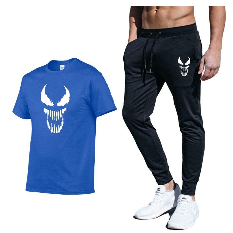 New 2020 Brand Fashion Men Venom 2 Pcs/Set Men's Sportswear Print Men T Shirts + Pant Mens Tracksuit Sweatshirts Clothing