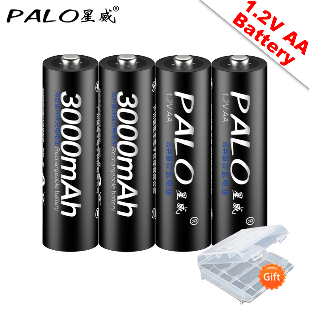 PALO 100% Original 1.2V AA Rechargeable Batteries 3000mAh  Ni-MH AA Rechargeble Battery For Camera Anti-dropping  Toy Car