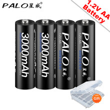 PALO 100% Original 1.2V AA Batteries rechargeables 3000mAh Ni-MH AA batterie Rechargeable pour caméra Anti-chute jouet voiture(China)
