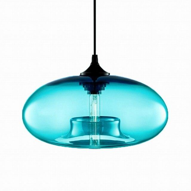 Nordic Modern hanging loft 7 Color Glass lustre Pendant Lamp industrial decor Lights Fixtures E27/E26 for Kitchen Restaurant 5