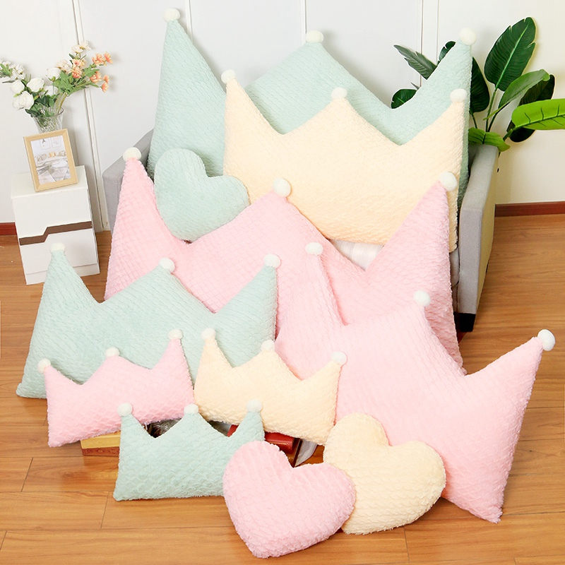 Image 3 - New Crown Plush Pillow Colorful Stuffed Soft Heart Square Rectangle Shape Throw Cushion Baby Kids Gift Girls Room DecorationPlush Pillows   -