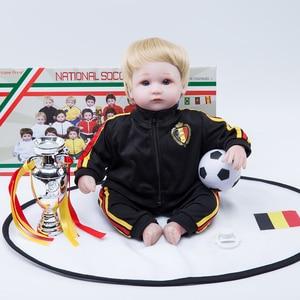 18 インチリボーン人形シリコーン bonecas サッカーベビーリボーン人形幼児ベルギー