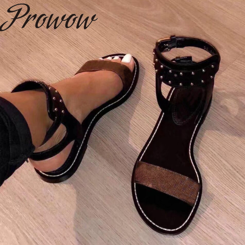 Prowow New Genuine Leather Branded Summer Sandals Open Toe Metal Studded Flats Sandals Shoes Women