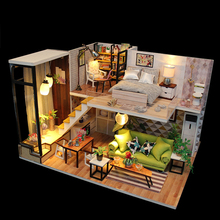 Doll House Miniature Furniture DIY Mini Wooden Kit families house Remote Control North Enurope Style Dollhouse