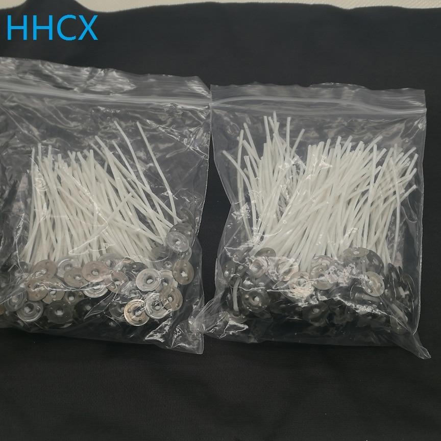 100pcs 7cm Cotton Pretabbed Candle Wicks with 100pcs Wick Stickers Low Smoke