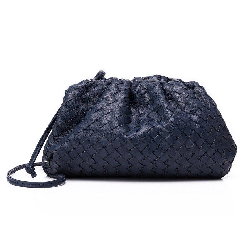 Bolso de mujer de lujo que hace punto bolso de sobre tejido de cuero auténtico diseño voluminoso de forma redondeada monederos y bolsos de mano embrague de la marca Louis - 4