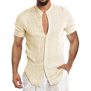 Men's New Summer Casual Cotton Linen Short Sleeve Button Down Shirt For Man Casual Shirts Cotton Shirts Long Sleeve Men Print Shirts Shirts & Tops Slim Fit Summer Shirts T-Shirts Work Shirts Color: Short-Beige Size: European Size XXL