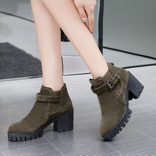 2019 winter neue dicken knöchel stiefel frauen stiefel winter frauen roten high heels mode stiefeletten 34- 43(China)