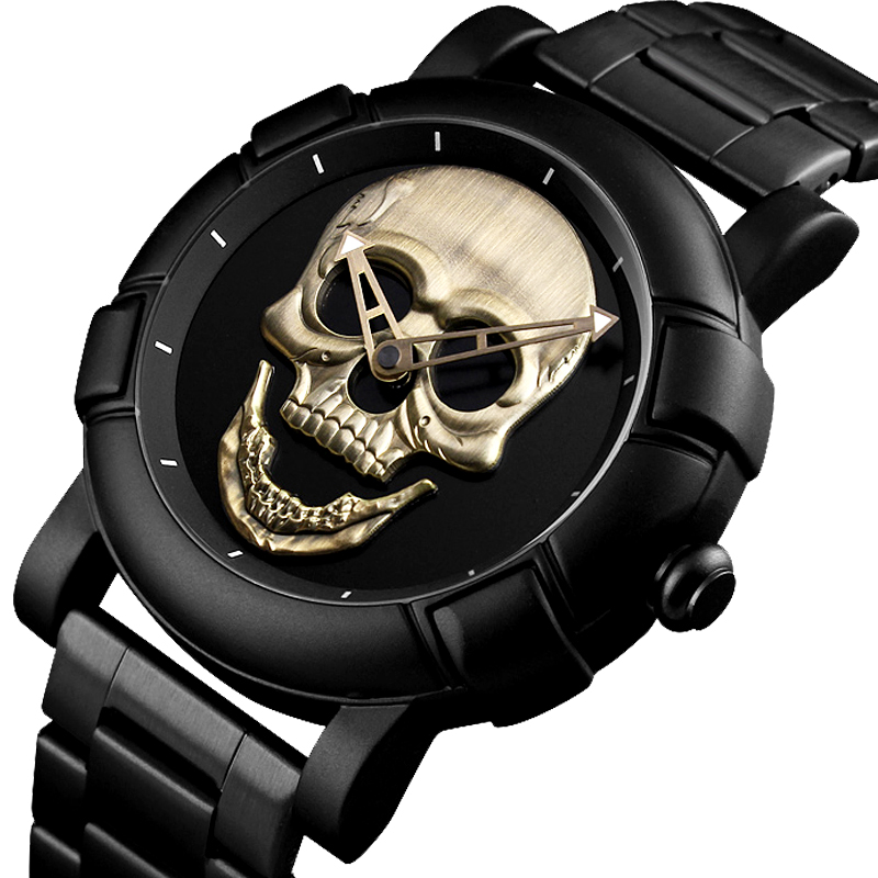 Cool Man Steampunk Skull Head Watch Men 3D Skeleton Engraved Gold Black Mexico  Punk Rock Dial Clock Watches Relogio Masculino