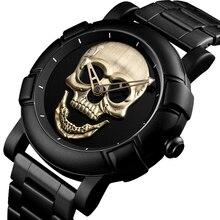 Reloj de calavera Steampunk para hombre, reloj masculino con esfera grande, esqueleto 3D grabado en oro y negro, Dial Punk Rock