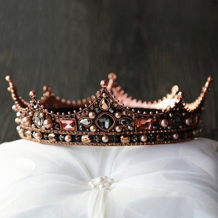 Vintage Crystal Round Baroque Tiaras Crowns Men King Queen Royal Party Bridal Wedding Head Jewelry Accessories