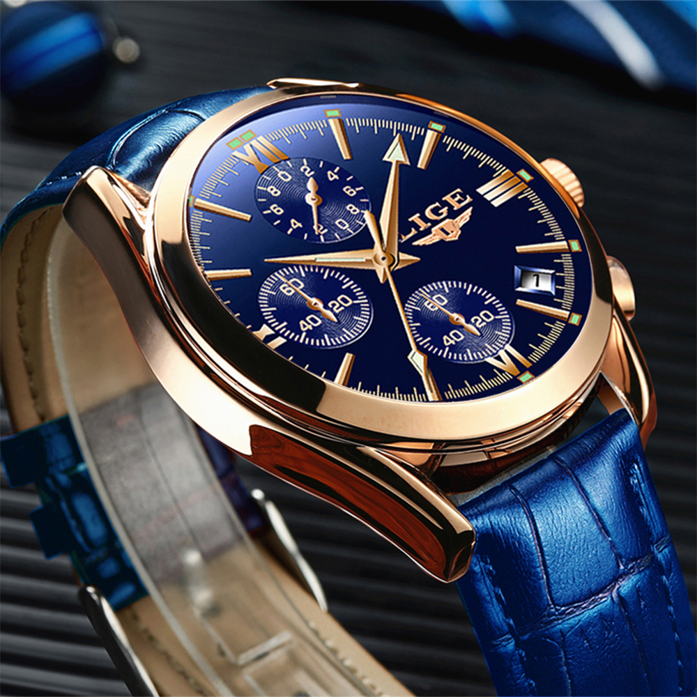 2020 New LIGE Blue Casual Leather Fashion Quartz Gold Watch Mens Watches Top Brand Luxury Waterproof Clock Relogio Masculino+Box